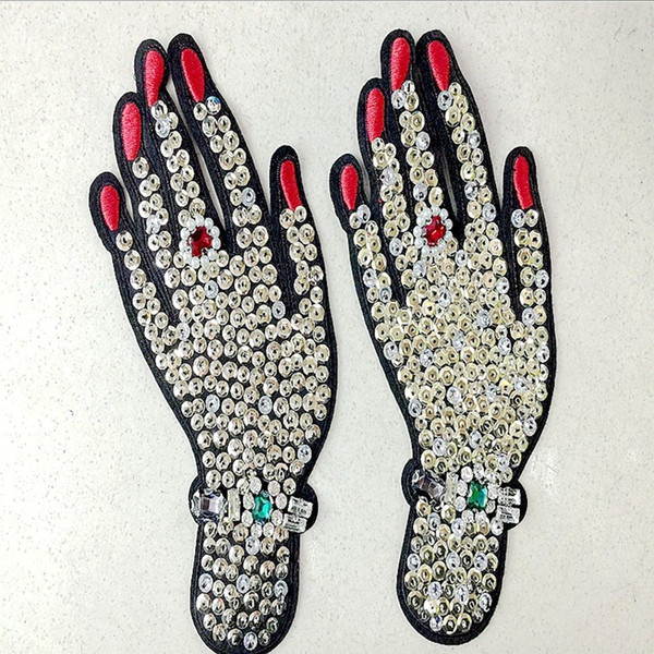 1 pcs Hand rhinestones beaded patches vintage embroidered fabric applique fashion clothing decoration sew on patch accessories supplie