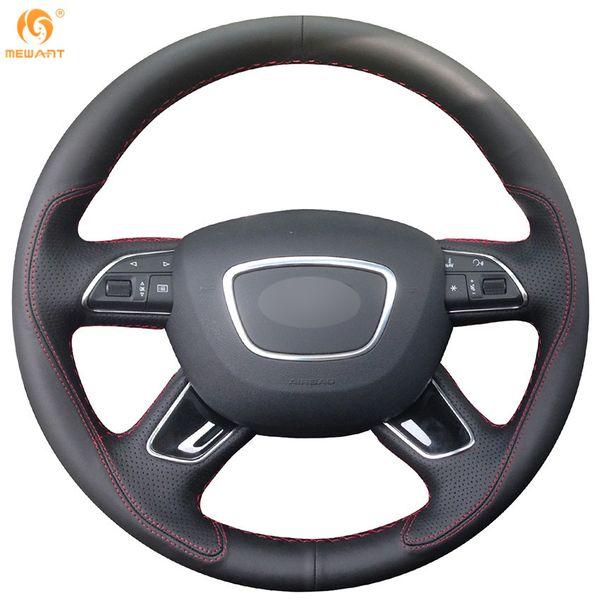 Mewant Black Leather Car Steering Wheel Cover for Audi Q7 2012-2015 Q3 Q5 2013-2016 A4 (B8) 2014 2015 A6 (C7) 2014-2016