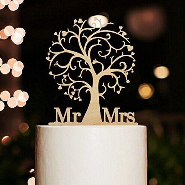 Al por mayor-Mr Sra. Y Tree Style Cake Topper con su apellido acrílico Cake Topper para boda / aniversario / fiesta de cumpleaños