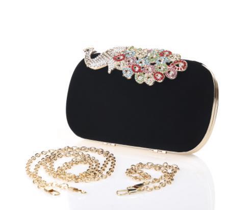 Wholesale-Fashion Crystal Diamonds Diamond Women Solid Handbag Evening v Bag Polyester Purse Elegant Peacock Clutch FCI#
