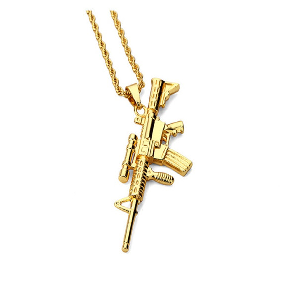 Fashion Men Hip Hop Jewelry Sniper Rifle Pendant Necklaces 18k Gold Plated Long Chains Design Punk Rock Filling Pieces Mens
