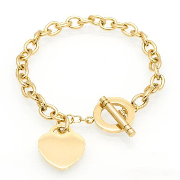Silver Gold Rose Gold Color Titanium steel Heart Pendant Charm Bracelets Stainless Steel Links Chain Jewelry For Women Girls Gift