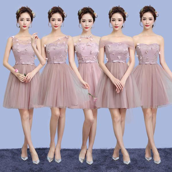 Compre Blush Pink Champagne Vestidos De Dama De Honor Estilo Rural Vestido Corto Formal Para Damas De Honor Junior Y Adultas Vestido De Fiesta De Boda