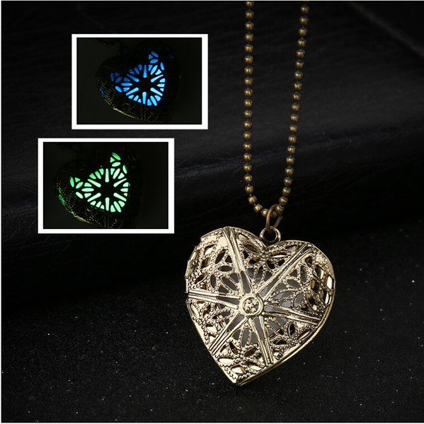 Vintage Glow In The Dark Hollow Love Heart Pendant For DIY Locket Necklace Jewelry For Women Fine Jewelry With Beads Chains