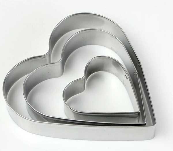 Wholesale- Free Shipping Cake Decorating Tools Stainless Steel Heart Love Shaped Cake Chocolate Candy Cookies Cutter Moulds