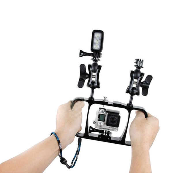 Freeshipping Camera Diving Bracket CNC Aluminum Dual Ball Mount Video Fill Light Grip For GoPro Hero 3 3+ 4 Session Xiaomi Yi SJ4000