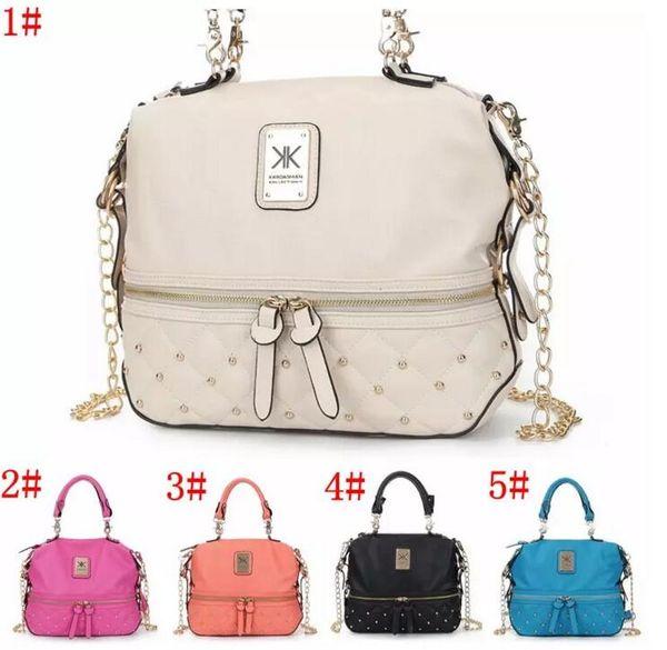 Kim Kardashian Kollection Shoulder Bag KK Women Rivet Designer Bag Handbags Fashion Bucket Gold Chain Messenger Bags