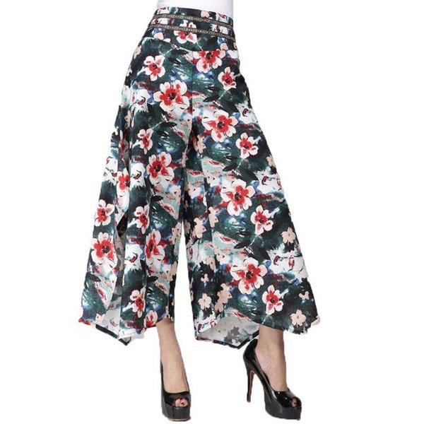 Summer Women floral print Ethnic Wide Leg Pant Loose Linen+cotton Dress Pants Female Casual Skirt Trousers Capris Culottes KL129