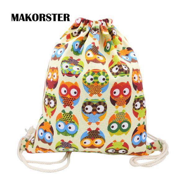 Wholesale- MAKORSTER summer Cotton Fabric backpack beach drawstring bag String 20-35 Litre Fashion teenage girls Backpacks for Women DJ0114