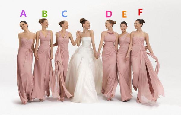 2016 Chiffon Longo Da Dama de Honra Vestidos de Estilo Diferente Longo Do Baile Festa Prom Vestido Frete Grátis