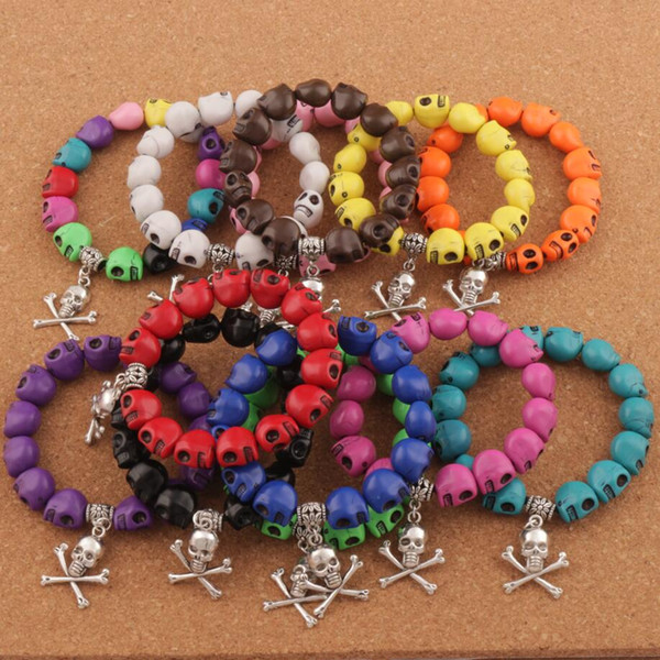 Hot Prayer Acrylic Colorful Skeleton Skull Beaded Bracelets Strands 24pcs/lot Elastic Unisex BB65 7inch 12colors