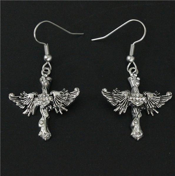 Serin Kadınlar 316L Paslanmaz Çelik Biker Takı Bayanlar Wings Biker Kafatası Küpe Kristal Taşlar Güzel Biker Damızlık