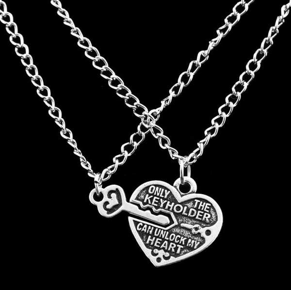 Hot sale Good friend peach heart lock key best friend necklace simple love witness necklace WFN007 (with chain) mix order 20 pieces a lot