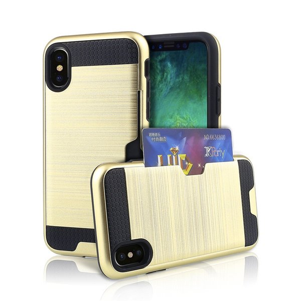 200pc Card Slot Case Drawing Card Slot Hard Phone Case for iPhone 8 Cover Silicon Capa Armor Shell for iPhone8 Case Coque Fundas