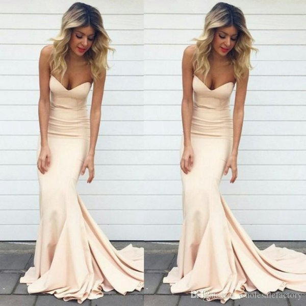 2017 Simple Mermaid Prom Dresses Nude Color Sweetheart Neck Sweep Train Formal Evening Gowns Long Women Celebrity Party Gowns
