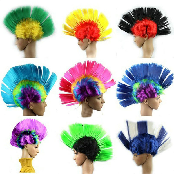 Women Men kids Mohawk Synthetic Hair Fashion Mohican Hairstyle Costume Cosplay Punk Party Wigs for Halloween Christmas Free Shipping