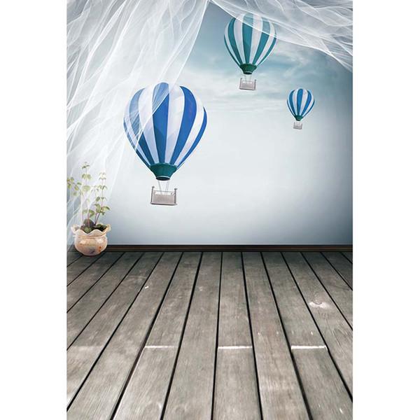 Blau und Weiß Luftballons Himmel Wand Fotografie Hintergrund weichen Tüll Vorhang Neugeborenen Baby Kinder Kinder Foto Hintergrund Holz Textur Boden