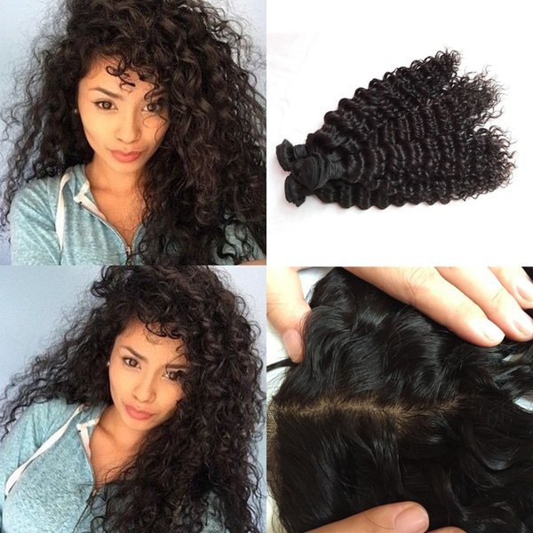 13X4 Silk Lace Frontal Closure With 3 Bundles Virgin Peruvian Deep Wave Hair Weaves Closure G-EASY