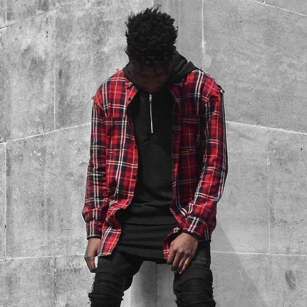 Camicia a quadri rossa per uomo Hip-Hop Streetwear Camicia a maniche lunghe in cotone a maniche lunghe Camicia casual a quadri vintage Kanye West Capispalla OSG1008