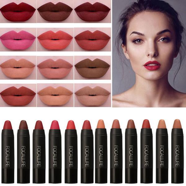 Fashion New Brand FOCALLURE Lipstick Sexy Long Lasting Lip Tint Waterproof Pigment Velvet Brown Nude Matte Lipstick Pencil