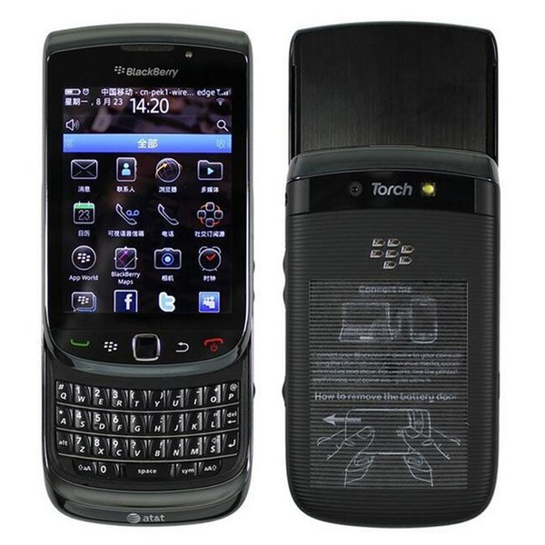 Refurbished Original Blackberry Torch 9800 3G Slide Phone 3.2 inch Touch Screen + QWERTY Keyboard 5MP Camera Unlocked Mobile Phone Post 1pcs