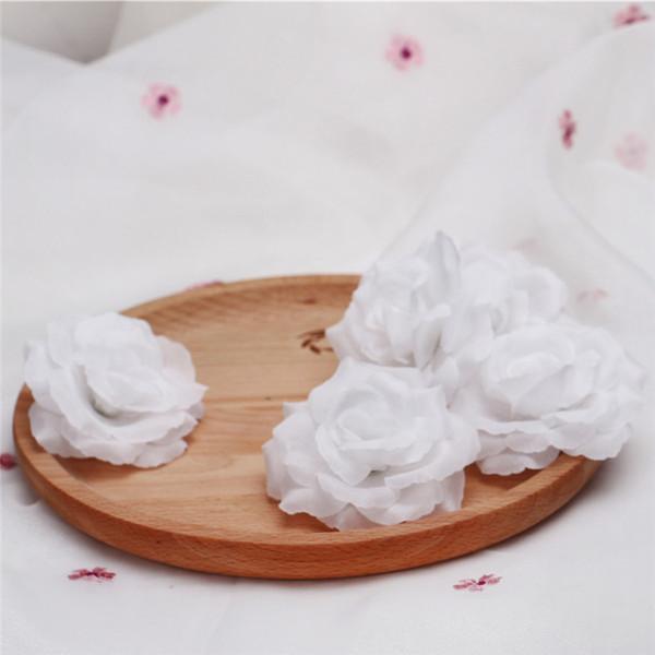 Wholesale 50Pcs Cream Ivory Artificial Silk Camellia Rose Peony Flower Head 7-8cm Party Decoration Artificial Flower Head Wedding Decoration