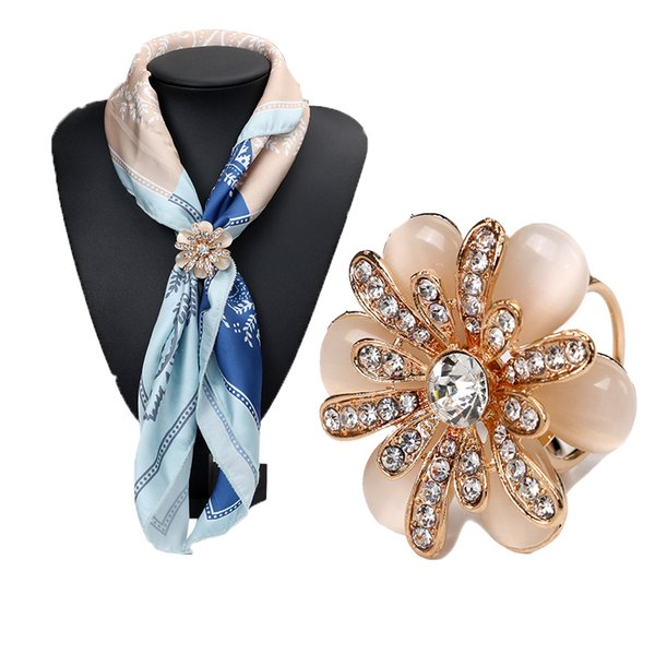 Wholesale- Rhinestone Crystal Gold Plated Flower Scarf Brooch Pins Opal Stone Flower Scarf Clips for Women Wedding Party 3792