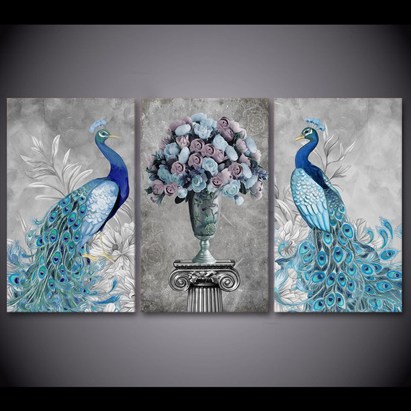 3 Pcs/Set Framed HD Printed Peacock Couple Animal Picture Wall Art Print Decor Canvas Modern Oil Painting Cuadros Decoracion