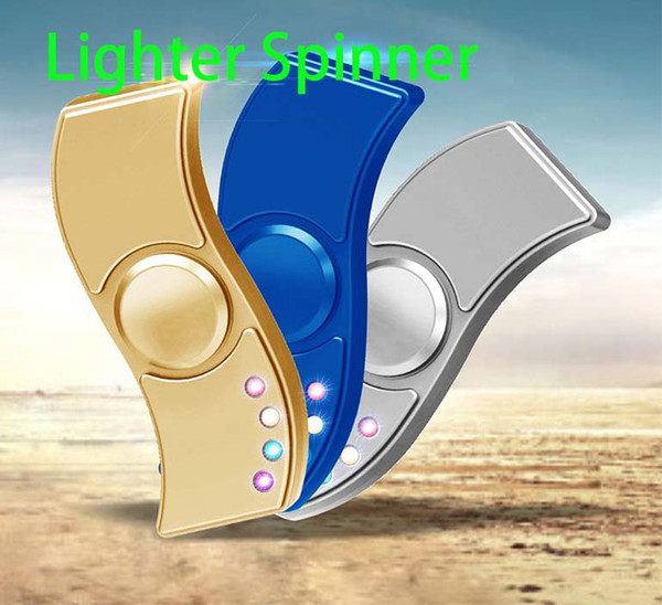 S Fidget Spinner Lighter LED Hand Spinner Zinc Alloy USB Charger 3 in 1 Functions Charging USB Gyro Finger Tip Cube Lighter