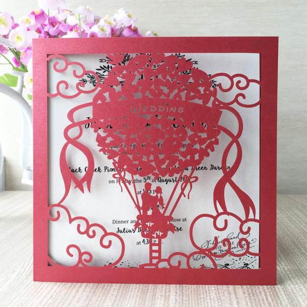 50 pcs / lot livraison gratuite laser coupe invitations de mariage cartes mariée marié dans le ballon conception test personnalisé fête de mariage cartes fournitures