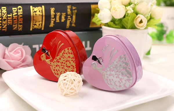 New Hearts shape Metal Candy Box Wedding Favor tins favor boxes Delicate Chocolate Holders wedding small Gift Box