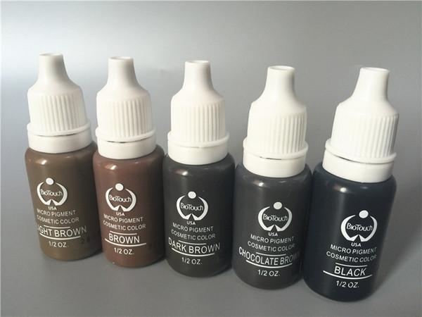5 unids biotouch tatuaje conjunto de tintas de pigmento maquillaje permanente 15 ml de color marrón negro color cosmético tatuaje de tinta para delineador de ojos de cejas
