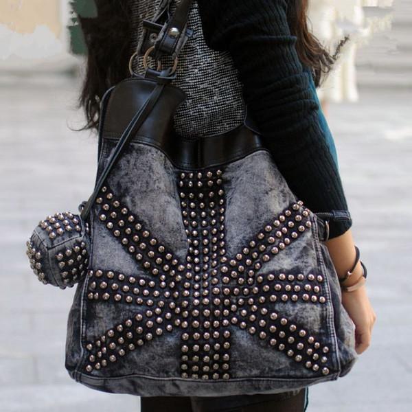 Wholesale-2016 New Fashion Retro Rivet Women jean Bag\handbag ,ladies' cool Denim bag\shoulder bag\Messenger Bag~229
