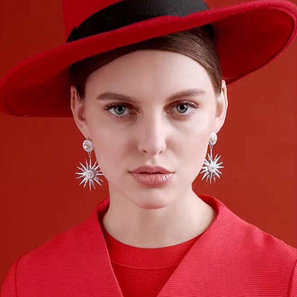 New design crystal sunflower stud earrings for women fashion jewelry Silver earring Rhinestone stars earring pendant bridal brincos