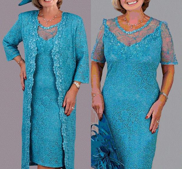 Il collo del gioiello dei vestiti dalla madre del ginocchio del pizzo del turchese si veste con i vestiti della madre del rivestimento per nozze su ordine
