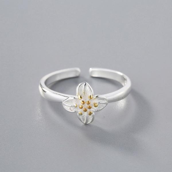 925 Sterling Silver Turkish Handmade Flower Women Eternity Ring