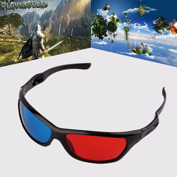 Wholesale- 2016 New Universal 3D Plastic Glasses Black Frame Red Blue 3D Visoin Glass For Dimensional Anaglyph Movie Game DVD Video TV