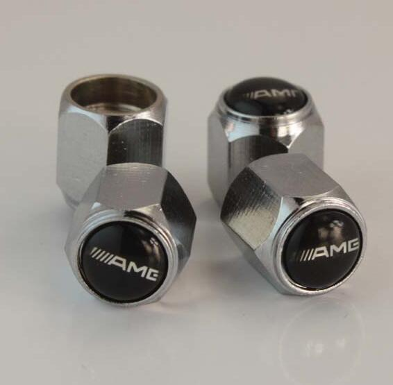 4 unids Accesorios de Coche 12 * 9mm tapas de válvulas de neumáticos de acero Inoxidable tapa de polvo de aire AMG para Mercedes AMG Árbol
