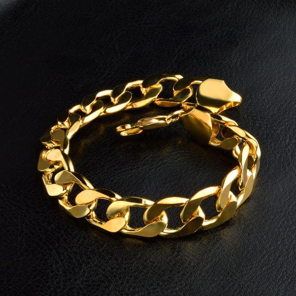24K Ywllow Gold Pure Copper Bracelet Men/Women Jewelry Wholesale Trendy Silver/Gold Color 20CM 6MM 10MM Thick Cuban Link Chain Bracelets