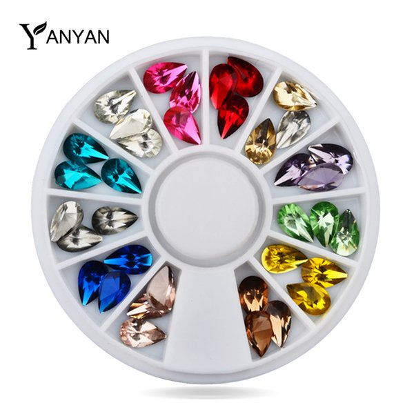 Toptan Satış - Toptan-Glitter Nail Art Rhinestones, 5X8mm 36pcs / set 3d Tasarım Mix Renkler Akrilik UV Jel Nail İpuçları Dekorasyon, DIY Nail Aksesuar Taşlar