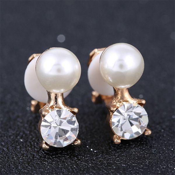 top popular XS Luxury Imitation Pearl Atmosphere No Ear Hole Clip On Earring For Women Girl Gift Alloy Inlay Zircon Earrings TJ023 2019