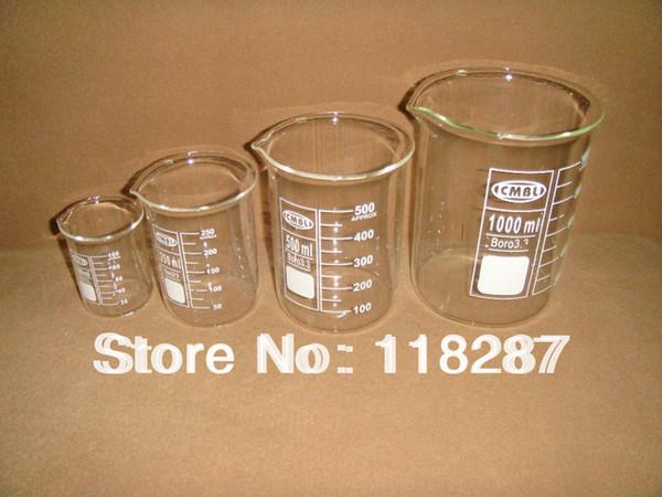 Al por mayor- Un juego de vasos de vidrio 100 ml 250 ml 500 ml 1000 ml cada uno