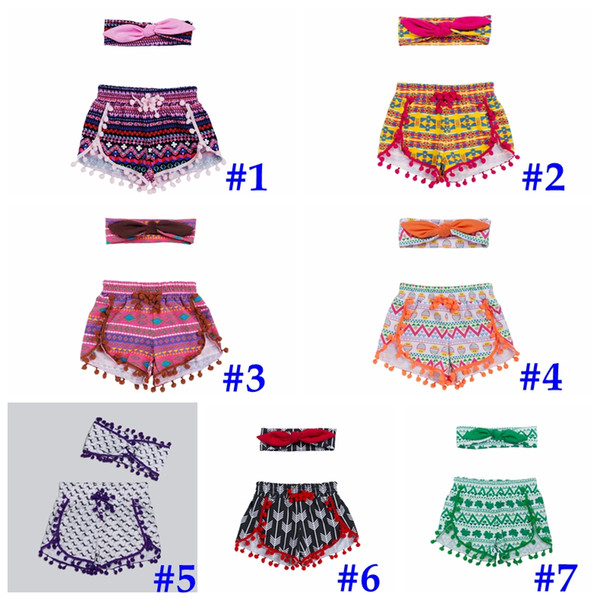 2016 ins girls chevron shorts baby bloomers + headbands 2pc set childrens ruffled shorts kids cotton underwear girls boutique short pants