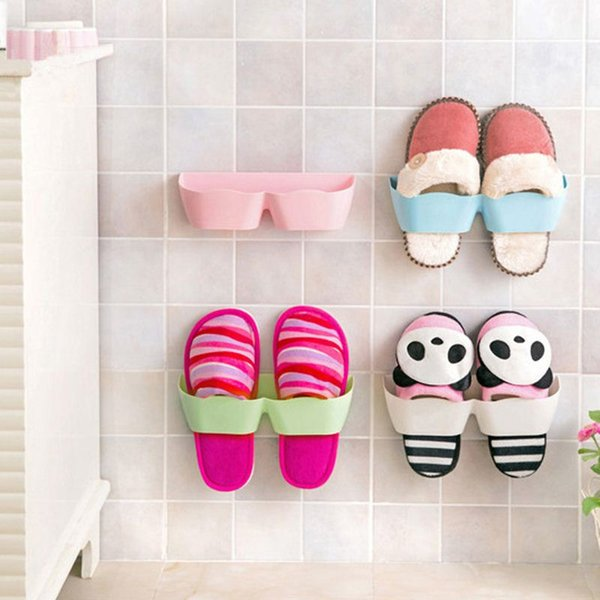 Creative 3D Wall-mounted Plastic Shoe Hanger DIY Self-adhesive Shoe Rack Bathroom Sets Home Storage