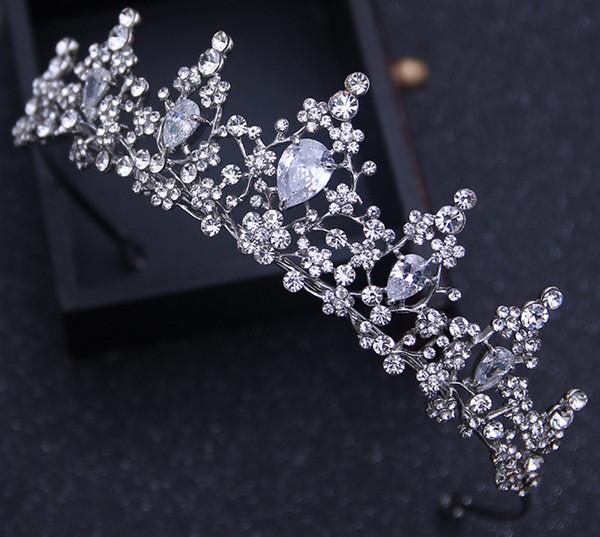 Free Shipping Designer Fashion Crystal Rhinestone Crown Wedding Party Prom Homecoming Crowns Band Princess Bridal Tiaras Hair Accessories