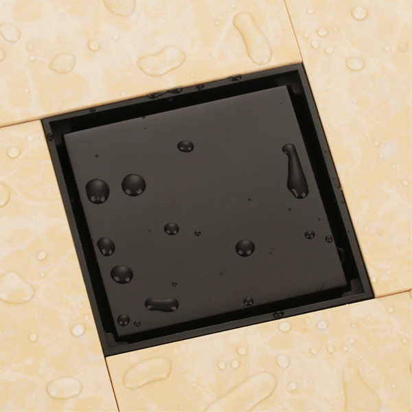 best selling Oil Rubbed Bronze black solid brass 100 x 100mm square anti-odor floor drain bathroom invisible shower drain