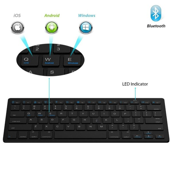 Ultra slim Wireless Keyboard Bluetooth 3.0 for IPAD ,MACBOOK,LAPTOP,Computer PC and Android Tablet PC