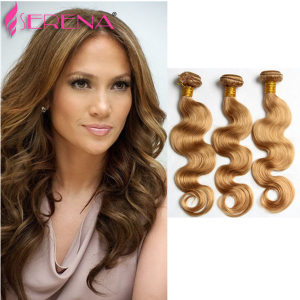 """60% OFF! Honey Blonde Extensions Peruvian 10""""-30"""" Human Hair Weave Weft #27 Color Hair Extension Body Wave Wet and Wavy 3pcs bridal"""