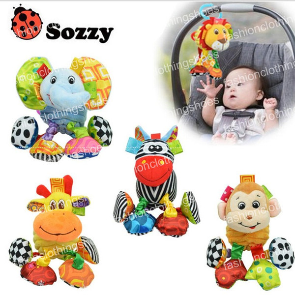 top popular Sozzy Baby Vibrated Plush Animal Lion Toy Rattle Crinkle Sound 18cm Soft Stuffed Multicolor Multifunction Toy 2021