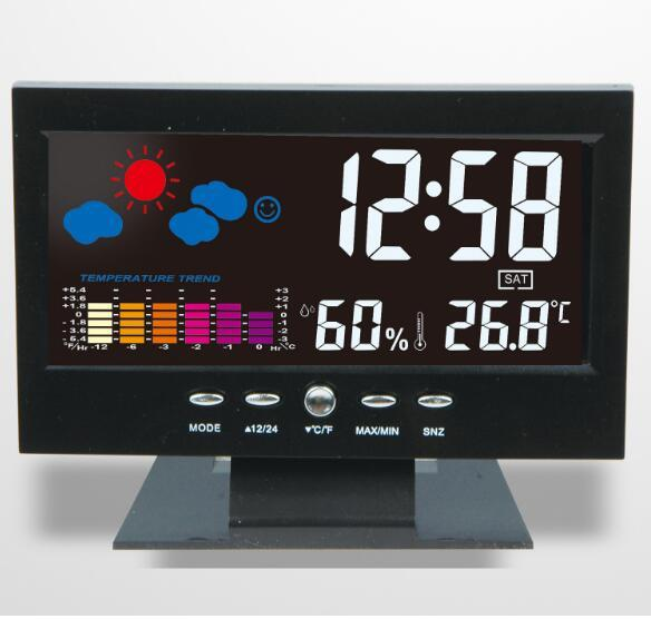 100pcs by dhl fedex Digital Thermometer Hygrometer Clock Calendar Weather Station Clock Voice control backlight with Base